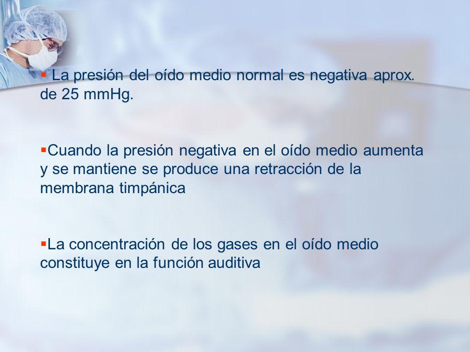 La presión del oído medio normal es negativa aprox. de 25 mmHg.