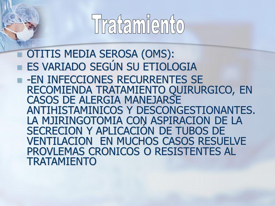 Tratamiento OTITIS MEDIA SEROSA (OMS): ES VARIADO SEGÚN SU ETIOLOGIA