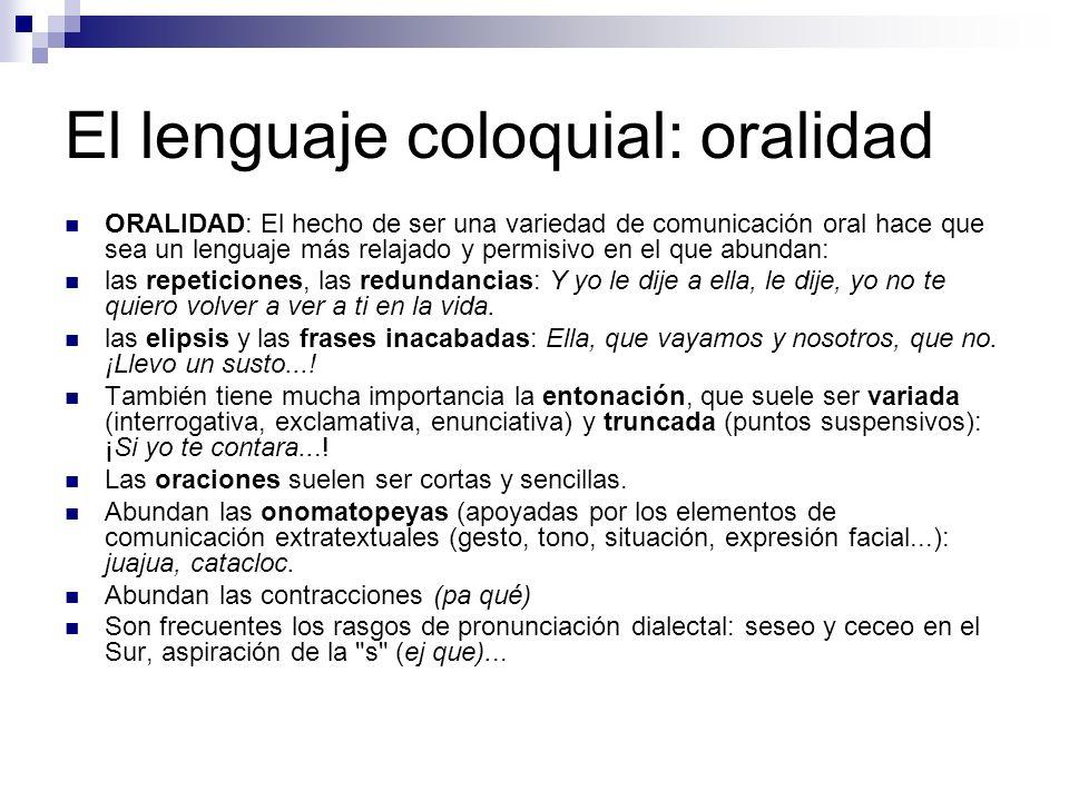 El lenguaje coloquial: oralidad