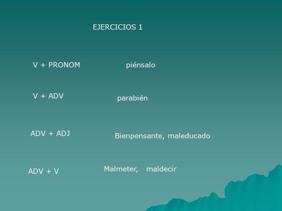EJERCICIOS 1 V + PRONOM. piénsalo. V + ADV. parabién. ADV + ADJ. Bienpensante, maleducado. Malmeter, maldecir.