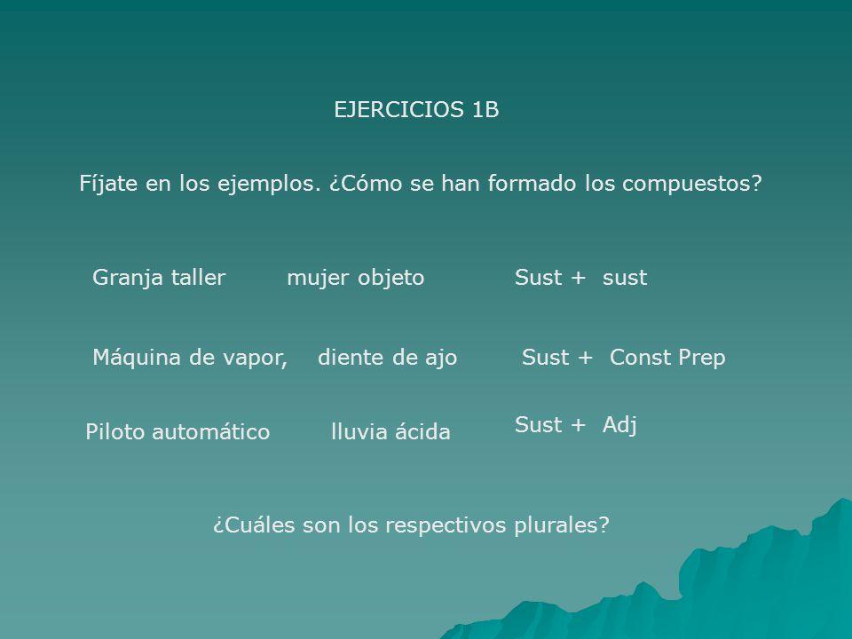 EJERCICIOS 1B Fíjate en los ejemplos. ¿Cómo se han formado los compuestos Granja taller mujer objeto.