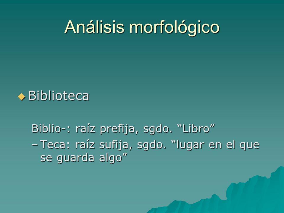 Análisis morfológico Biblioteca Biblio-: raíz prefija, sgdo. Libro