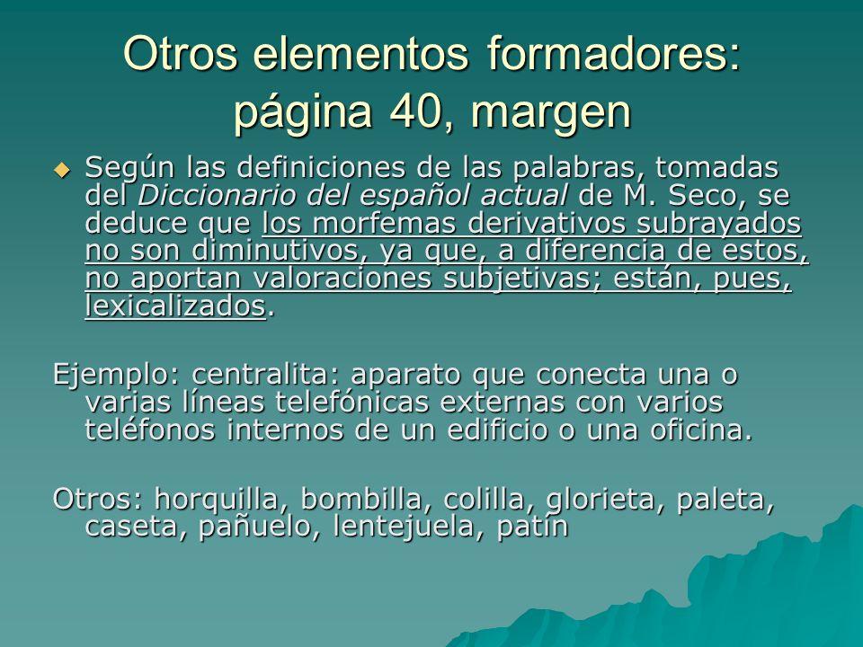 Otros elementos formadores: página 40, margen