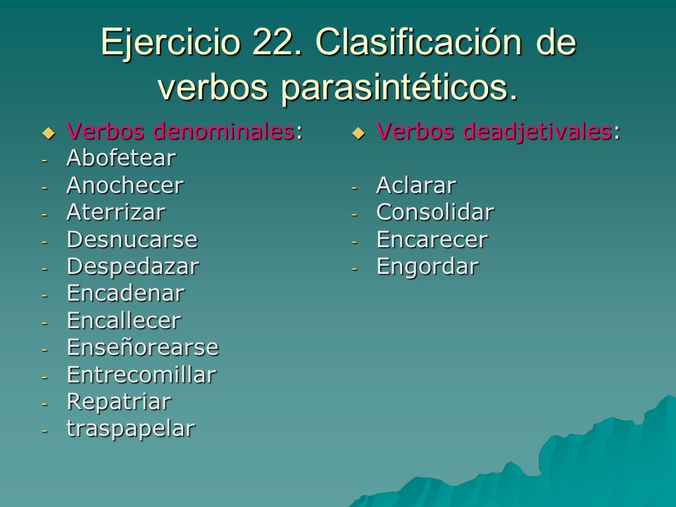 Ejercicio 22. Clasificación de verbos parasintéticos.