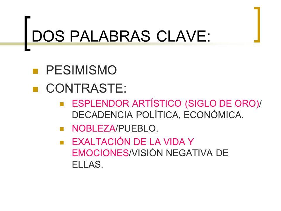 DOS PALABRAS CLAVE: PESIMISMO CONTRASTE:
