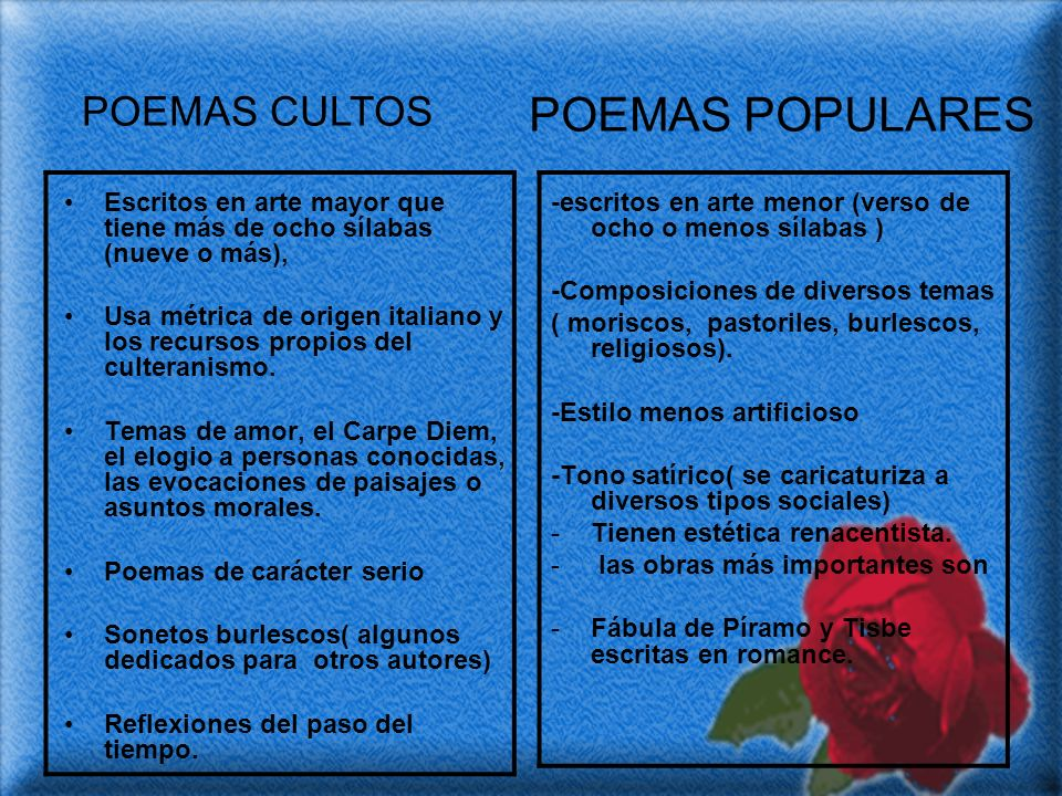 POEMAS POPULARES POEMAS CULTOS