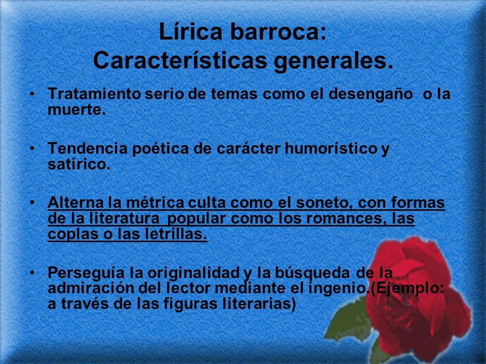 Lírica barroca: Características generales.