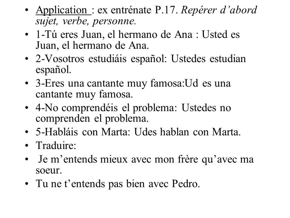 Application : ex entrénate P. 17