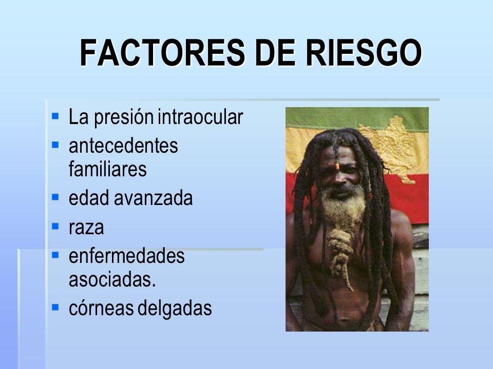 FACTORES DE RIESGO La presión intraocular antecedentes familiares