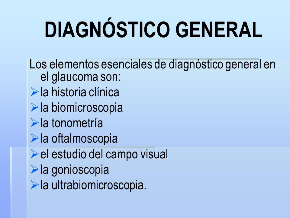 DIAGNÓSTICO GENERAL Los elementos esenciales de diagnóstico general en el glaucoma son: la historia clínica.