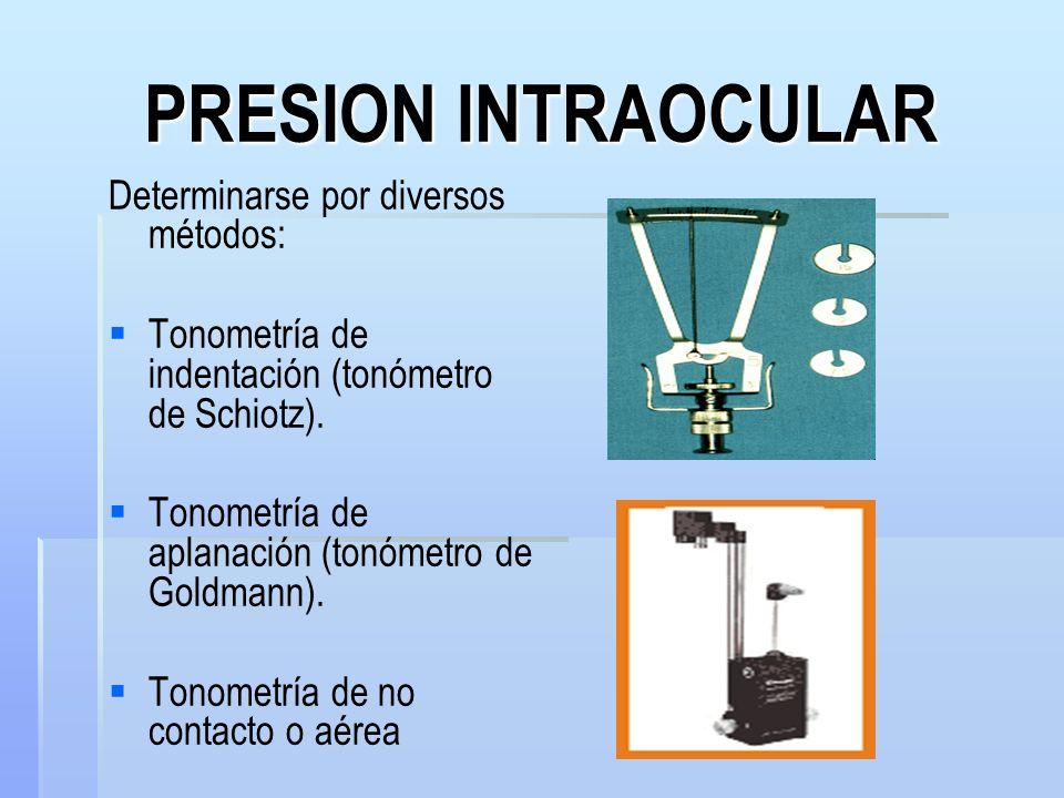 PRESION INTRAOCULAR Determinarse por diversos métodos: