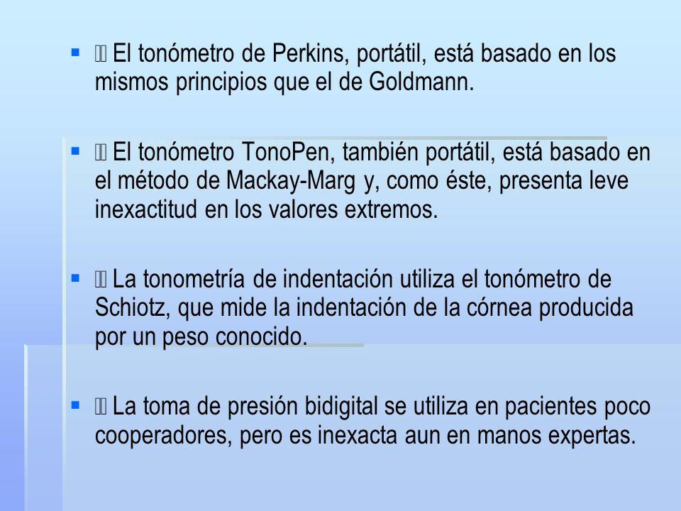  El tonómetro de Perkins, portátil, está basado en los mismos principios que el de Goldmann.
