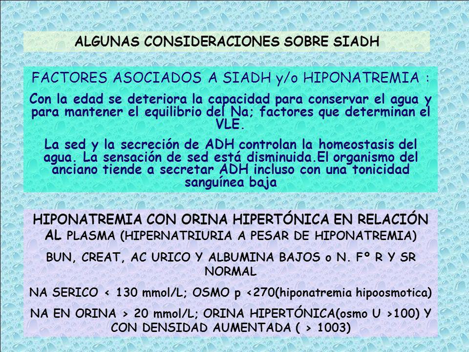 FACTORES ASOCIADOS A SIADH y/o HIPONATREMIA :