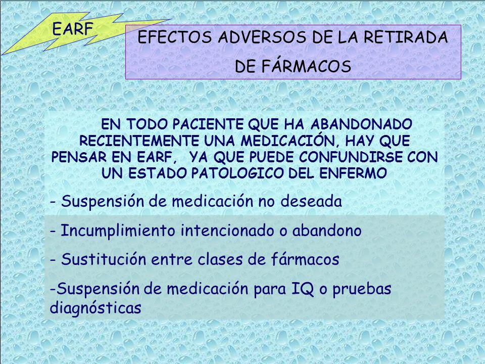 EFECTOS ADVERSOS DE LA RETIRADA