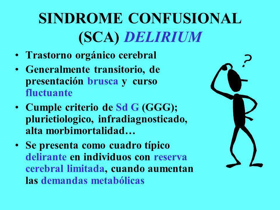 SINDROME CONFUSIONAL (SCA) DELIRIUM