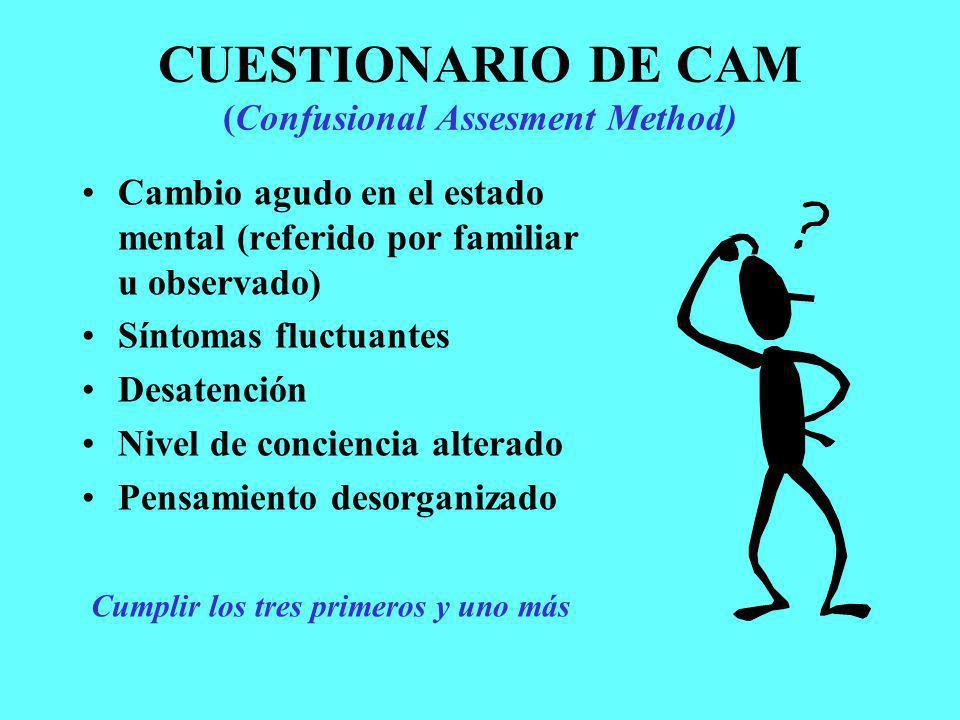CUESTIONARIO DE CAM (Confusional Assesment Method)