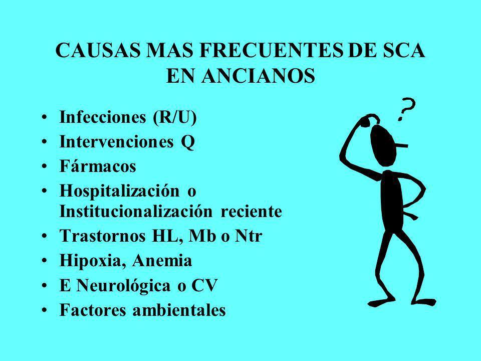 CAUSAS MAS FRECUENTES DE SCA EN ANCIANOS