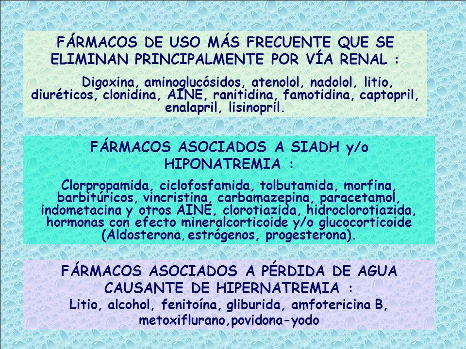 FÁRMACOS ASOCIADOS A SIADH y/o HIPONATREMIA :