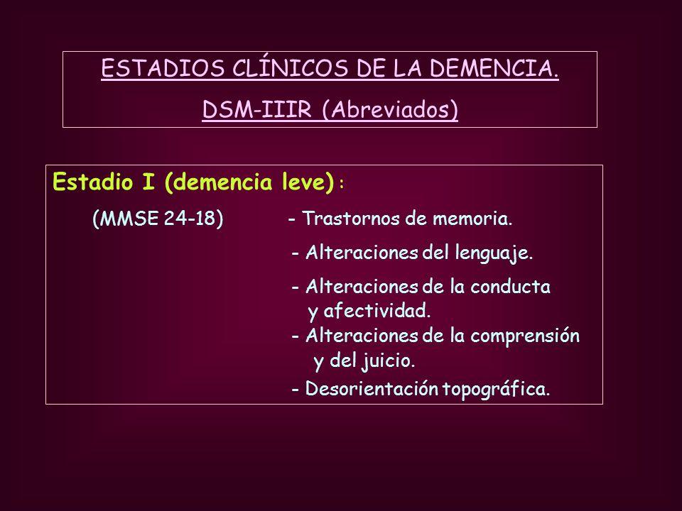 ESTADIOS CLÍNICOS DE LA DEMENCIA. DSM-IIIR (Abreviados)