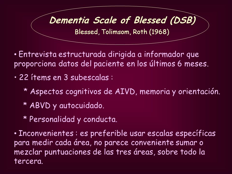 Dementia Scale of Blessed (DSB) Blessed, Tolimsom, Roth (1968)