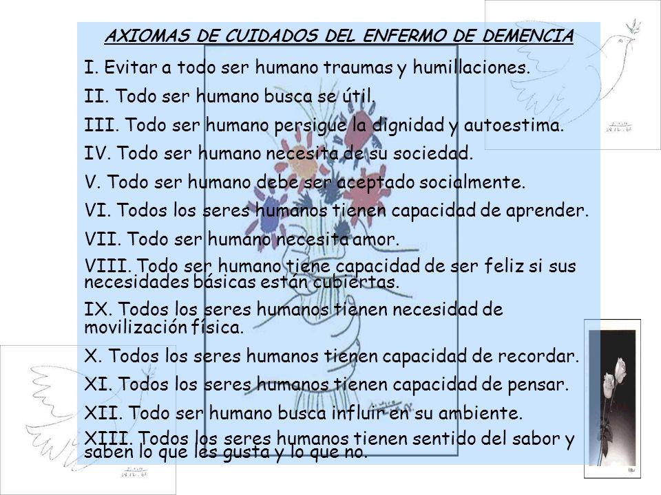 AXIOMAS DE CUIDADOS DEL ENFERMO DE DEMENCIA