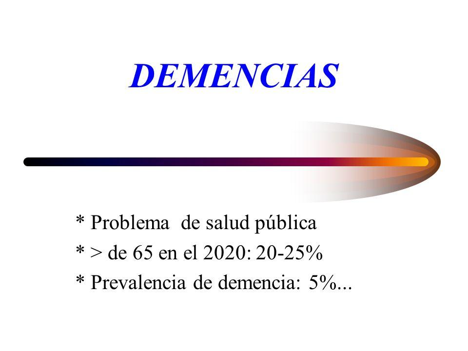 DEMENCIAS * Problema de salud pública * > de 65 en el 2020: 20-25%