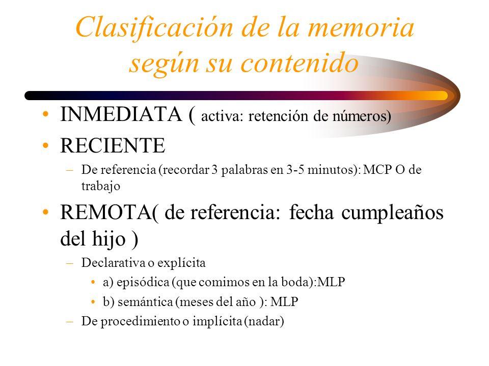 Clasificación de la memoria según su contenido