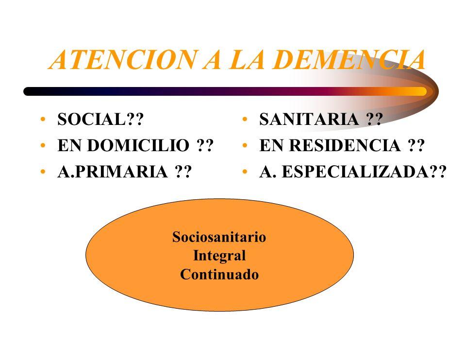 ATENCION A LA DEMENCIA SOCIAL EN DOMICILIO A.PRIMARIA