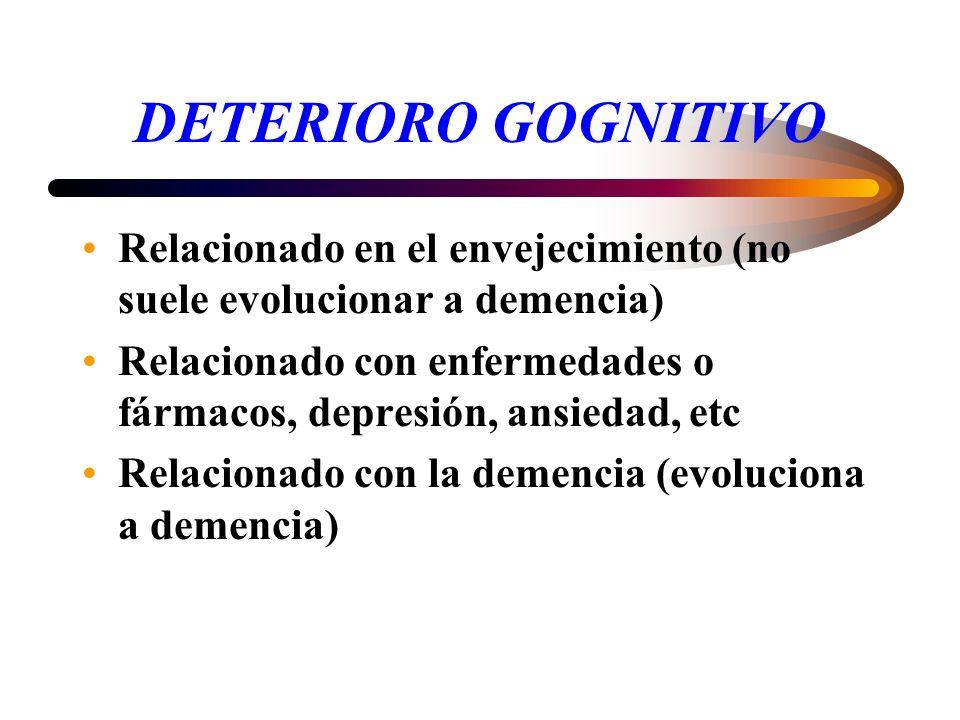 DETERIORO GOGNITIVO Relacionado en el envejecimiento (no suele evolucionar a demencia)