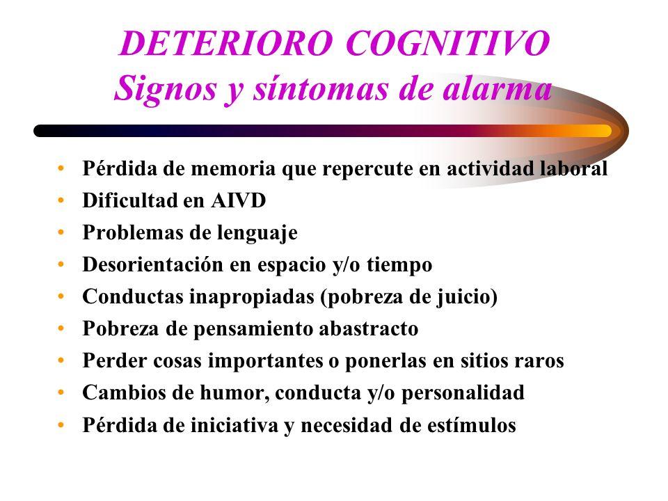 DETERIORO COGNITIVO Signos y síntomas de alarma