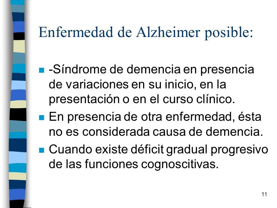 Enfermedad de Alzheimer posible: