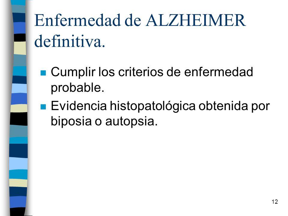 Enfermedad de ALZHEIMER definitiva.