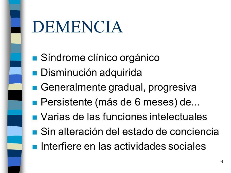 DEMENCIA Síndrome clínico orgánico Disminución adquirida