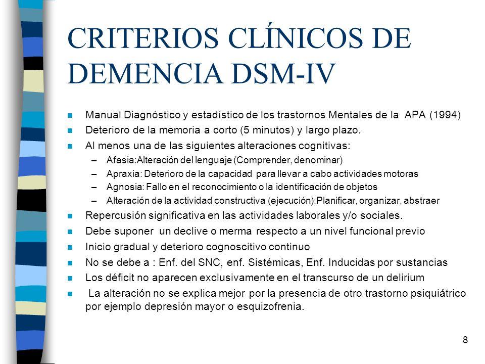 CRITERIOS CLÍNICOS DE DEMENCIA DSM-IV