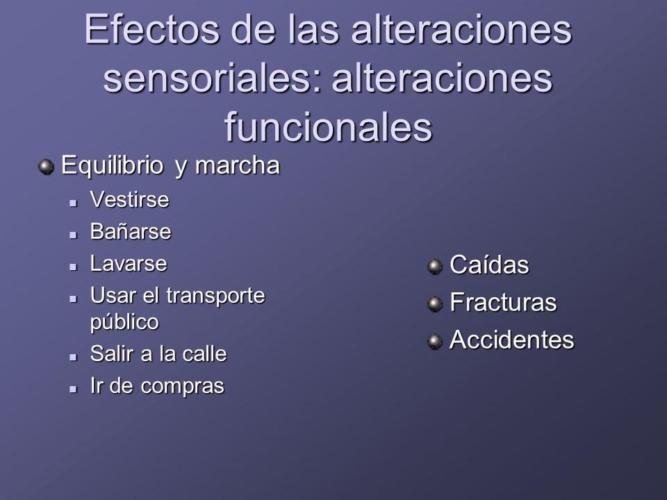Efectos de las alteraciones sensoriales: alteraciones funcionales