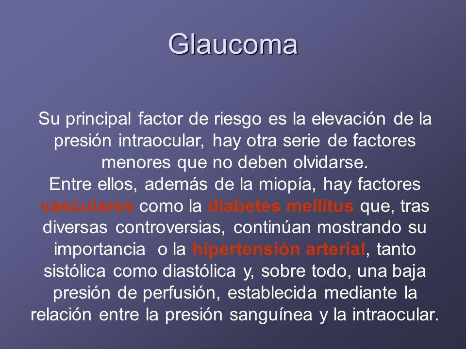 Glaucoma Su principal factor de riesgo es la elevación de la presión intraocular, hay otra serie de factores menores que no deben olvidarse.