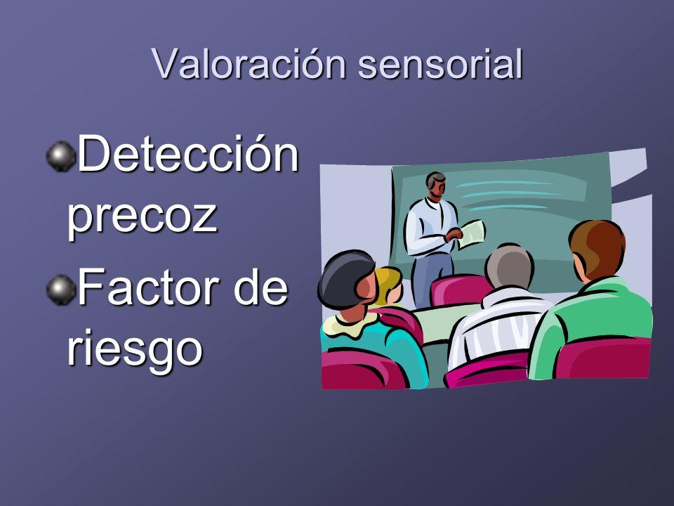 Valoración sensorial Detección precoz Factor de riesgo