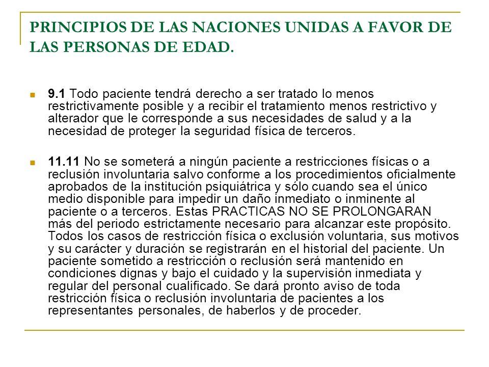 PRINCIPIOS DE LAS NACIONES UNIDAS A FAVOR DE LAS PERSONAS DE EDAD.