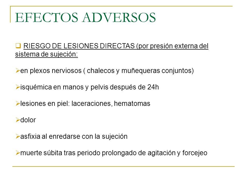 EFECTOS ADVERSOS RIESGO DE LESIONES DIRECTAS (por presión externa del sistema de sujeción: en plexos nerviosos ( chalecos y muñequeras conjuntos)