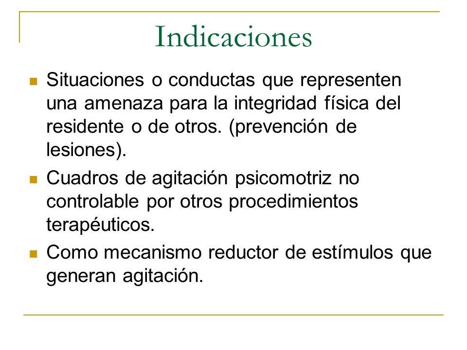 Indicaciones Situaciones o conductas que representen una amenaza para la integridad física del residente o de otros. (prevención de lesiones).
