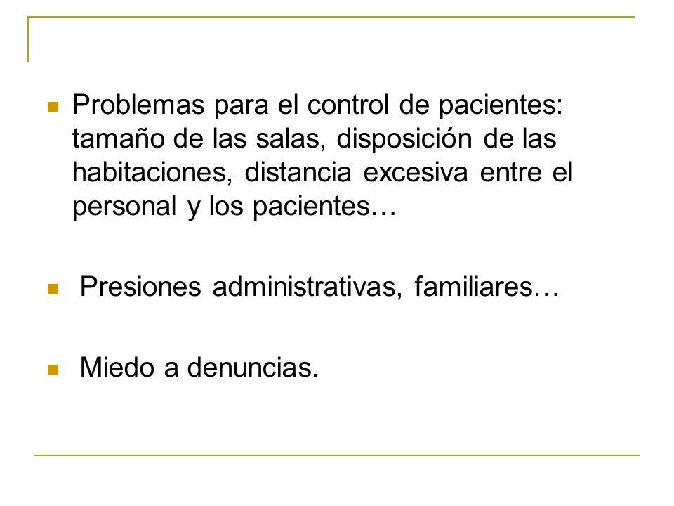 Problemas para el control de pacientes: tamaño de las salas, disposición de las habitaciones, distancia excesiva entre el personal y los pacientes…