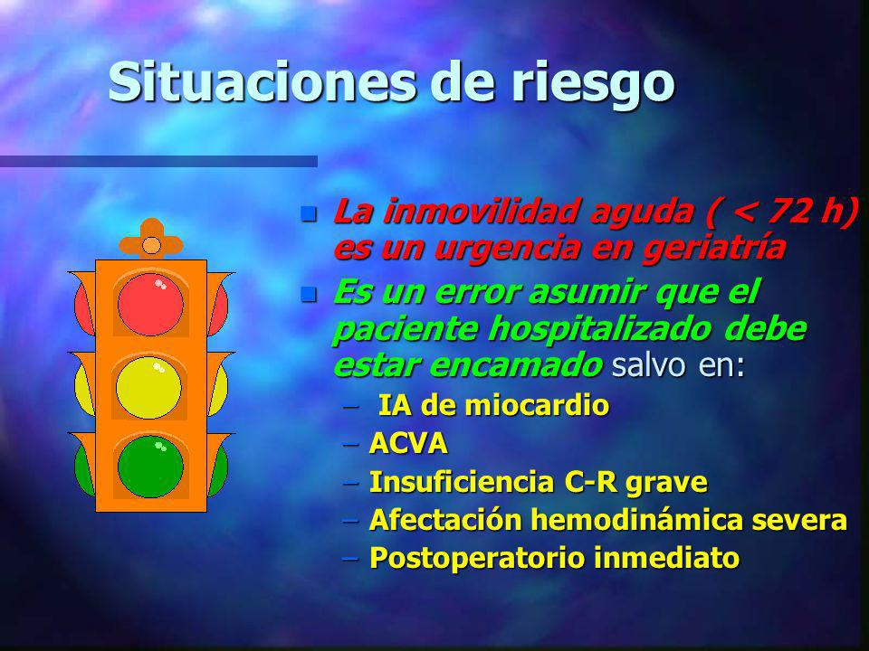 Situaciones de riesgo La inmovilidad aguda ( < 72 h) es un urgencia en geriatría.