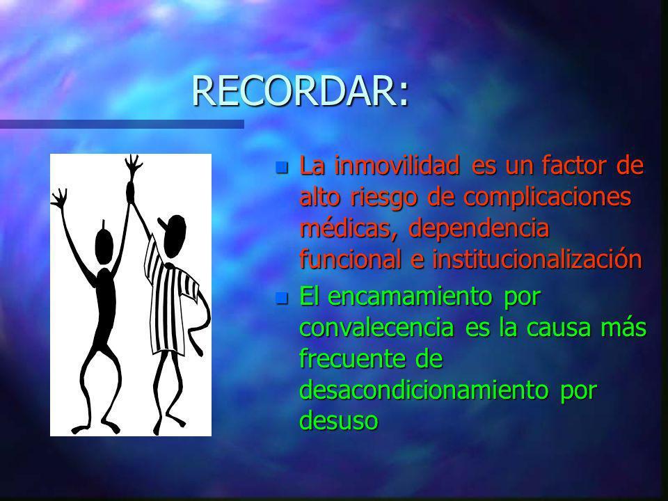 RECORDAR: La inmovilidad es un factor de alto riesgo de complicaciones médicas, dependencia funcional e institucionalización.