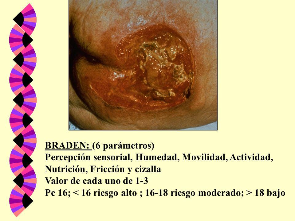 BRADEN: (6 parámetros) Percepción sensorial, Humedad, Movilidad, Actividad, Nutrición, Fricción y cizalla.