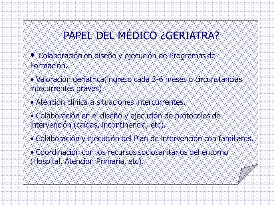 PAPEL DEL MÉDICO ¿GERIATRA