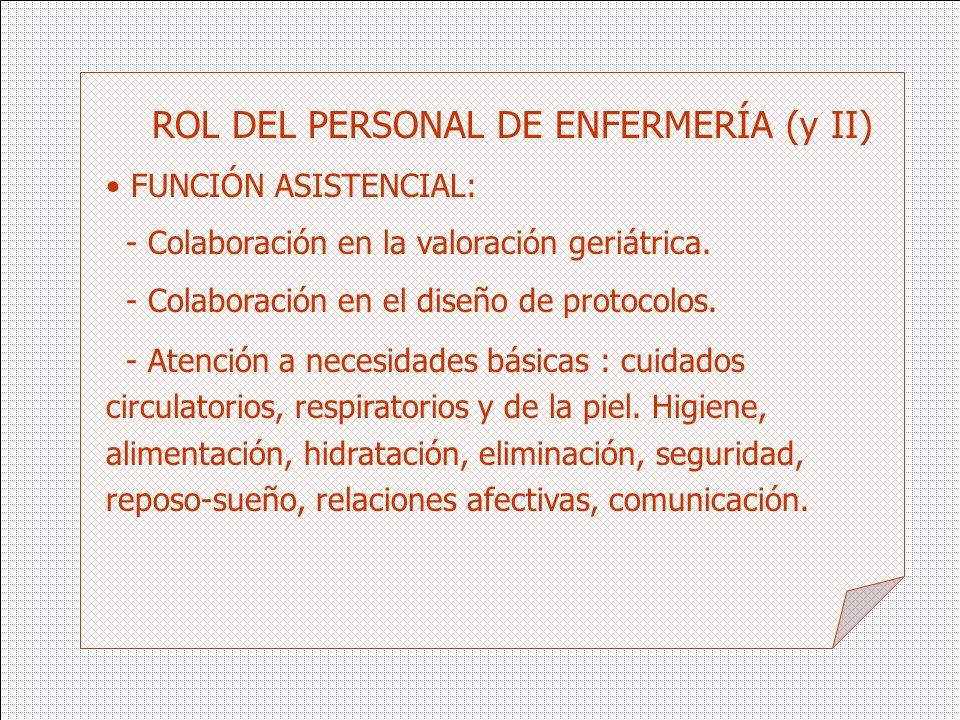 ROL DEL PERSONAL DE ENFERMERÍA (y II)