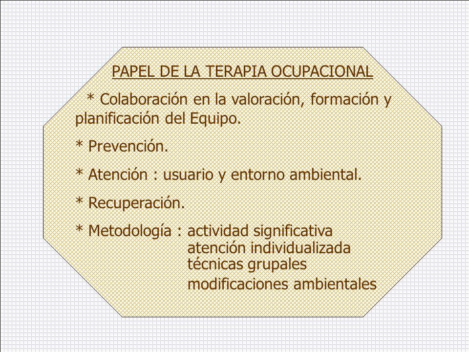 PAPEL DE LA TERAPIA OCUPACIONAL