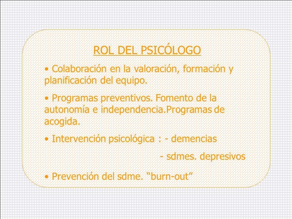 ROL DEL PSICÓLOGO Colaboración en la valoración, formación y planificación del equipo.