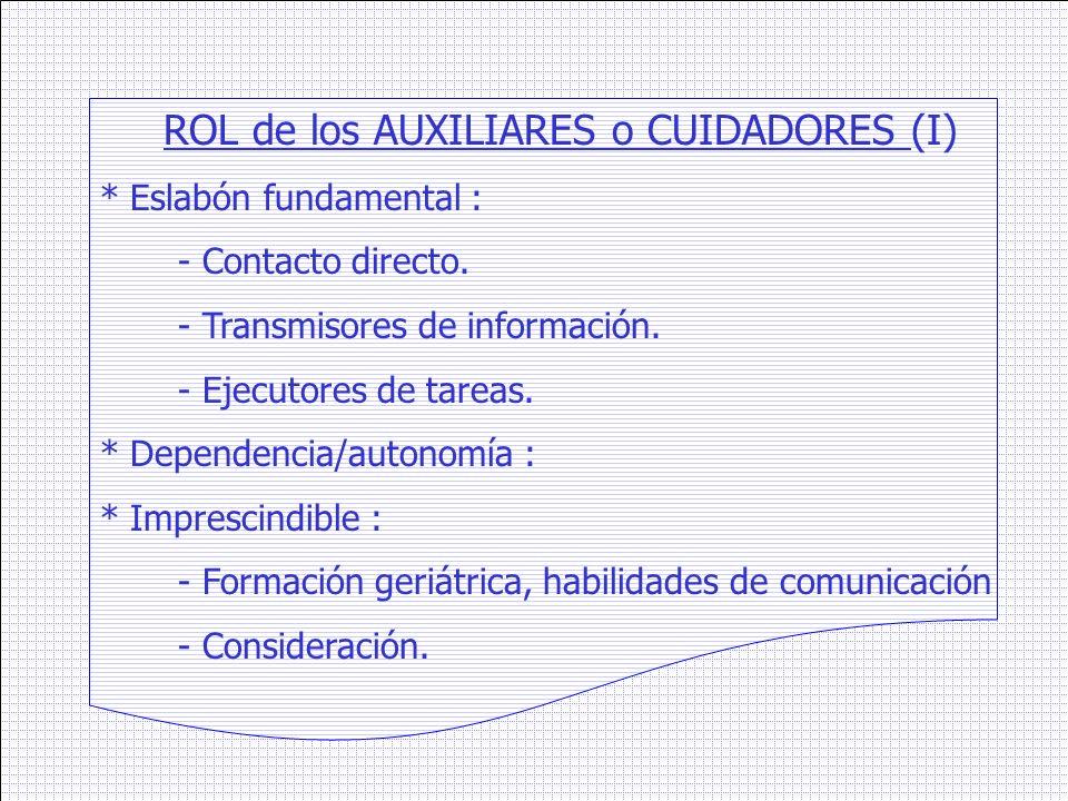 ROL de los AUXILIARES o CUIDADORES (I)