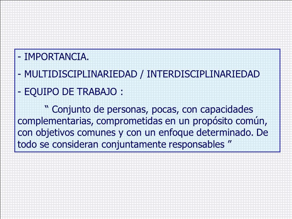 - IMPORTANCIA.- MULTIDISCIPLINARIEDAD / INTERDISCIPLINARIEDAD. - EQUIPO DE TRABAJO :